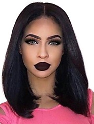 cheap -Remy Human Hair 360 Frontal Lace Front Wig Bob Deep Parting style Brazilian Hair Yaki Straight Natural Wig 130% 150% 180% Density with Baby Hair Adjustable Heat Resistant Thick with Clip Women's