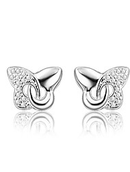 cheap -Women's Clear Cubic Zirconia Stud Earrings Earrings Hollow Out Heart Butterfly Stylish Trendy Fashion Elegant Silver Plated Earrings Jewelry Silver For Birthday Engagement Gift Daily Date 1 Pair