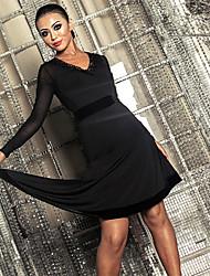 cheap -Latin Dance Dresses Women's Performance Spandex Ruching Long Sleeve Dress
