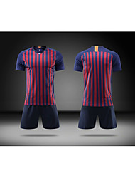 cheap -Men's Soccer Soccer Jersey and Shorts Clothing Suit Breathable Sweat-wicking Team Sports Active Training Football Stripes Polyester Adults Yellow Deep Blue Pink