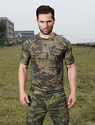 cheap -Men's Camo Hiking Tee shirt Short Sleeve Outdoor Breathable Fast Dry Stretchy Tee / T-shirt Top Autumn / Fall Spring Polyster Terylene Crew Neck Coffee Army Green Khaki Hunting Military / Tactical