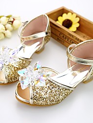 cheap -Girls' Flower Girl Shoes / Tiny Heels for Teens Satin Sandals Toddler(9m-4ys) / Little Kids(4-7ys) / Big Kids(7years +) Rhinestone / Beading Silver / Blue / Pink Spring / Summer / Wedding / Wedding