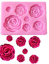 cheap -Rose Flowers Shaped Fondant Silicone Mold Craft Chocolate Baking Mold