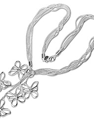 cheap -Women's Pendant Necklace Chain Necklace Necklace Classic Butterfly Simple Unique Design Romantic Sweet Silver Plated Silver 46 cm Necklace Jewelry 1pc For Gift Daily Evening Party Date Work