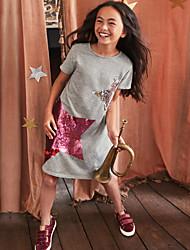 cheap -Kids Girls' Sweet Cartoon Short Sleeve Dress Blushing Pink