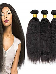 cheap -6 Bundles Brazilian Hair kinky Straight Remy Human Hair Natural Color Hair Weaves / Hair Bulk Bundle Hair One Pack Solution 8-28inch Natural Color Human Hair Weaves Waterfall Cute Safety Human Hair