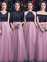 cheap -A-Line V Neck Floor Length Tulle / Sequined Bridesmaid Dress with Sequin / Sparkle & Shine