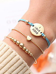 cheap -3pcs Women's Chain Bracelet Pendant Bracelet Layered Handwriting Bracelet Heart Simple Korean Cute Cord Bracelet Jewelry Gold For Gift Daily Going out