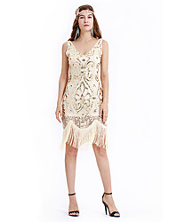 cheap -The Great Gatsby Charleston Retro Vintage 1920s Wasp-Waisted Flapper Dress Dress Women's Sequins Tassel Sequin Costume Beige Vintage Cosplay Party Homecoming Knee Length