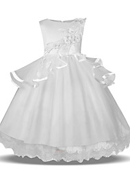 cheap -Princess Midi Wedding / First Communion Flower Girl Dresses - Tulle Sleeveless Jewel Neck with Petal / Tier / Appliques