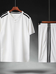 cheap -Men's Soccer Soccer Jersey and Shorts Clothing Suit Breathable Sweat-wicking Team Sports Active Training Football Stripes Polyester Adults White