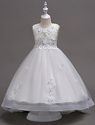 cheap -Princess Knee Length Flower Girl Dress - Lace / Tulle Sleeveless Jewel Neck with Appliques / Crystals / Lace by LAN TING Express