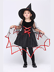 cheap -Witch Dress Cosplay Costume Hat Kid's Girls' Dresses Halloween Halloween Carnival Masquerade Festival / Holiday Tulle Cotton Black Carnival Costumes Patchwork