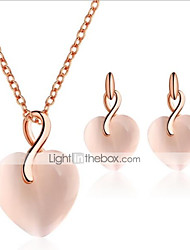 cheap -Women's Cat's Eye Drop Earrings Pendant Necklace 3D Heart Stylish Unique Design Earrings Jewelry Pink For Gift Daily 1 set