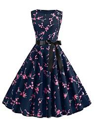 cheap -Fashion A Line Dresses Women's Street chic Swing Dress - Floral Print Navy Blue L XL XXL
