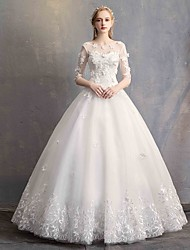 cheap -Ball Gown Scoop Neck Floor Length Lace / Tulle / Lace Over Satin Half Sleeve Made-To-Measure Wedding Dresses with Appliques 2020