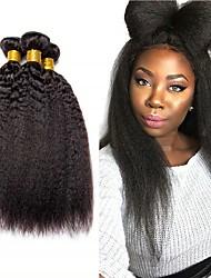 Недорогие -4 Связки Бразильские волосы Естественные прямые Не подвергавшиеся окрашиванию 200 g Человека ткет Волосы Пучок волос One Pack Solution 8-28inch Естественный цвет Ткет человеческих волос