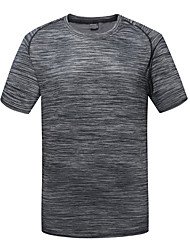 cheap -Men's Camo Hiking Tee shirt Short Sleeve Outdoor UV Resistant Breathable Ventilation Quick Dry Tee / T-shirt Top Spring Summer Polyester Taffeta Crew Neck Green Blue Grey Camping / Hiking / Caving