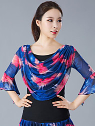 cheap -Ballroom Dance Top Pattern / Print Ruching Women's Training Performance 3/4 Length Sleeve Polyester