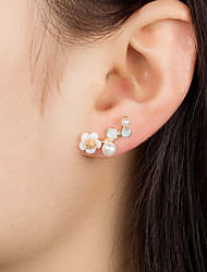 cheap -Women's Stud Earrings Flower Korean Fashion Cute Small Imitation Pearl Earrings Jewelry Gold / White For Birthday Causal Date 1 Pair