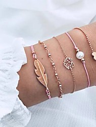 cheap -5pcs Women's Bead Bracelet Vintage Bracelet Earrings / Bracelet Classic Vintage Romantic Casual / Sporty Fashion Hemp Rope Bracelet Jewelry Gold For Daily School Street Going out Festival