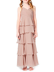 cheap -A-Line Halter Neck Ankle Length Chiffon Junior Bridesmaid Dress with Cascading Ruffles by LAN TING BRIDE®