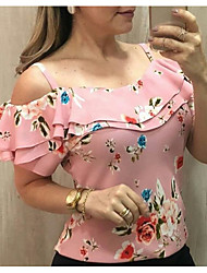 cheap -2020 Hot Sale Tanks & Camisoles Women's Plus Size Tank Top - Floral Débardeur Femme Strap Pink XXXL