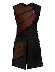 cheap -Knight Ritter Renaissance Ancient Rome Masquerade Men's Costume Black / Brown / Red Vintage Cosplay Halloween Masquerade Sleeveless / Top / Top