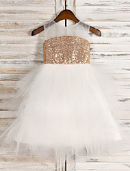 cheap -A-Line Tea Length Wedding / First Communion / Pageant Flower Girl Dresses - Tulle / Sequined Sleeveless Jewel Neck with Belt