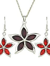 cheap -Women's Drop Earrings Pendant Necklace Geometrical Flower Stylish Luxury Sweet Austria Crystal Earrings Jewelry Red / Blue For Daily Date 1 set