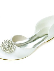 cheap -Women's Satin Spring & Summer Sweet Wedding Shoes Flat Heel Round Toe Rhinestone Royal Blue / Champagne / Ivory