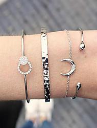 cheap -Women's Cuff Bracelet Bracelet Layered Crescent Moon Simple European Rhinestone Bracelet Jewelry Gold / Silver For Daily Street