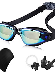 cheap -Swimming Goggles Waterproof Trainer Swimming Goggles Anti-Fog Mirrored Rubber PC Blacks Dark Blue Dark Gold Dark Blue Silver