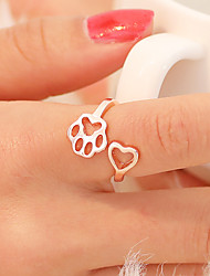 cheap -Women's Open Ring Tail Ring thumb ring 1pc Black Silver Rose Gold Copper Round Unusual Simple Unique Design Daily Jewelry Hollow Cat Cat Claw Heart