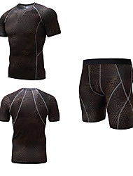 cheap -Men's 3pcs Compression Suit Short Sleeve Compression Shorts Base layer T Shirt Plus Size Lightweight Breathable Quick Dry Soft Sweat-wicking Red Blue Golden+Black Lycra Winter Road Bike Mountain Bike