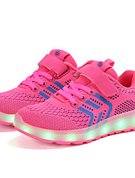cheap -Girls' LED / LED Shoes / USB Charging Knit Trainers / Athletic Shoes Toddler(9m-4ys) / Little Kids(4-7ys) / Big Kids(7years +) Walking Shoes Buckle / LED / Luminous Black / Red / Black / Pink Spring