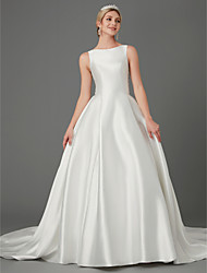 cheap -Princess Wedding Dresses Jewel Neck Court Train Lace Satin Sleeveless Elegant with Bow(s) Buttons Appliques 2020