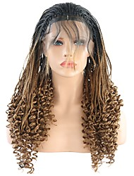 cheap -Synthetic Lace Front Wig Kinky Curly with Baby Hair Lace Front Wig Medium Length Black / Strawberry Blonde Synthetic Hair 24 inch Women's Heat Resistant Women Synthetic Brown
