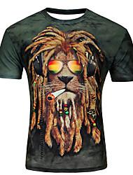 cheap -Men's Plus Size T-shirt - Animal / Cartoon Print Round Neck Purple