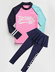 cheap -YOBEL Girls' Rash Guard Dive Skin Suit Neoprene Diving Suit Quick Dry Full Body 2-Piece - Swimming Diving Solid Colored Letter & Number Autumn / Fall Spring Summer / Winter / Kid's