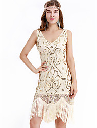 cheap -The Great Gatsby Charleston Vintage 1920s Summer Flapper Dress Party Costume Masquerade Women's Sequins Tassel Sequin Costume Ivory Vintage Cosplay Party Homecoming Prom Sleeveless Above Knee
