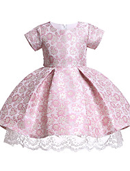 cheap -Kids Toddler Girls' Cute Chinoiserie Dusty Rose Floral Embroidered Short Sleeve Knee-length Dress Blue / Cotton
