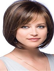 cheap -Synthetic Wig Straight Bob Wig Medium Length Brown Synthetic Hair Kanekalon 12 inch Women's Simple Synthetic Best Quality Brown BLONDE UNICORN / Natural Hairline / Natural Hairline