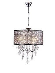 cheap -QINGMING® 4-Light 40 cm Chandelier Metal Drum Chrome / Black Traditional / Classic / Country 110-120V / 220-240V