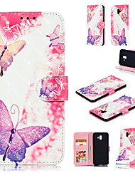 cheap -Case For Samsung Galaxy J6 (2018) / J6 Plus / J4 (2018) Wallet / Card Holder / with Stand Full Body Cases Butterfly / 3D Cartoon Hard PU Leather