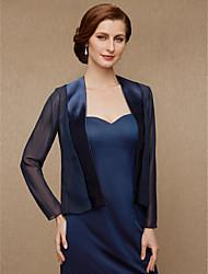 cheap -Long Sleeve Coats / Jackets Chiffon / Satin Wedding / Party / Evening Women's Wrap With Splicing