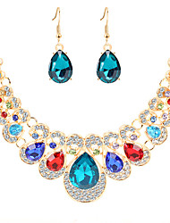 cheap -Women's Crystal Drop Earrings Bib necklace Bib Pear Classic Vintage European Elegant Color Imitation Diamond Earrings Jewelry Red / Blue / Champagne For Party Ceremony Evening Party Festival 3pcs
