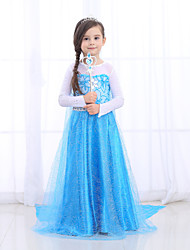 cheap -Princess Dress Cosplay Costume Flower Girl Dress Girls' Movie Cosplay A-Line Slip Retro Vintage Princess Blue Dress Halloween Masquerade Tulle Cotton