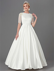 cheap -A-Line Jewel Neck Floor Length Satin Half Sleeve Wedding Dresses with Sash / Ribbon / Buttons / Beading 2020
