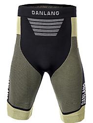 Недорогие -Муж. Жен. Длинные шорты сжатия компрессия Шорты Основной слой Нижняя часть Легкость Дышащий Быстровысыхающий Мягкий Впитывает пот и влагу Естественно-зеленный Спандекс / Горные велосипеды